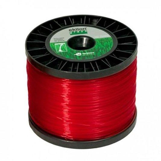 Fio Nylon Redondo Aparador de Grama Vermelho Carretel 2Kg - Ekilon