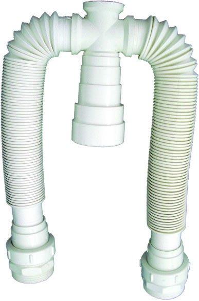 Sifão Sanfonado Plástico Duplo Branco - Blukit
