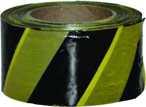 Fita Demarcação de Área Zebrada Amarela / Preta 70mm x 200m - Plastcor