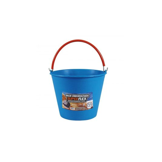 Balde Emborrachado Azul Superflex com pegador capacidade 12 litros - Metasul