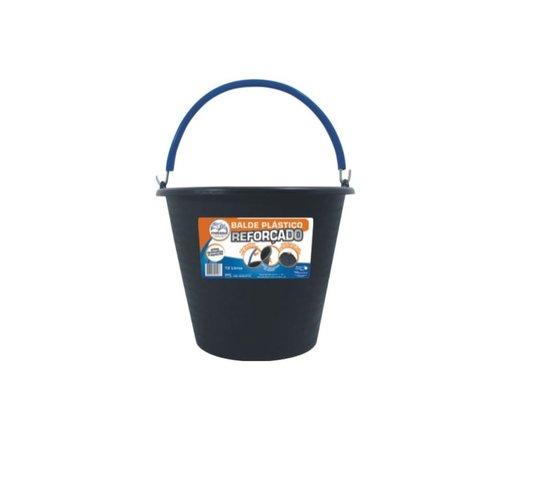 Balde Plástico Reforçado Preto para Concreto com Pegador no Fundo 12 Litros - Metasul