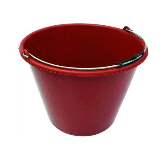 Balde Plástico Vermelho sem Pegador no Fundo Alça Aço 12 Litros - Terraplast