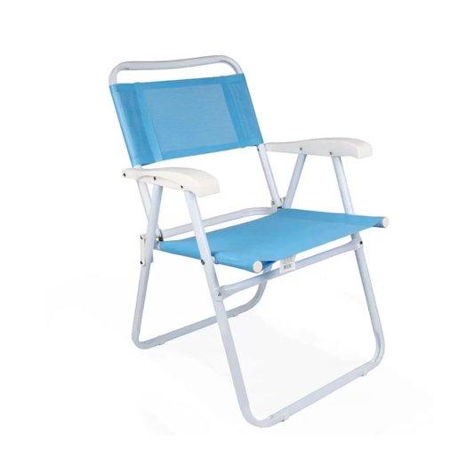 Cadeira Aço Master Dobrável 100kg Azul - Mor