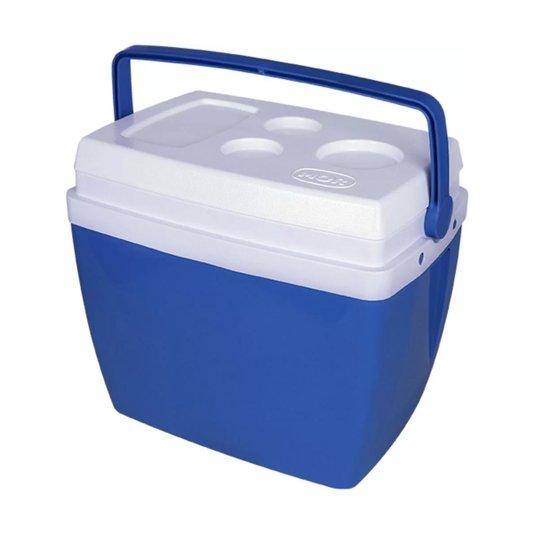 Caixa Térmica Glacial 34 Litros Azul com tampa Branca - Mor