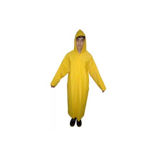 Capa de Chuva Plástica Forrada Amarela GG com Capuz e Mangas Longas - Capseg
