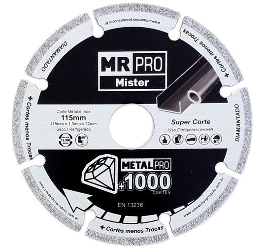 Disco Diamantado MR PRO 115mm + 1000 Cortes - Mister