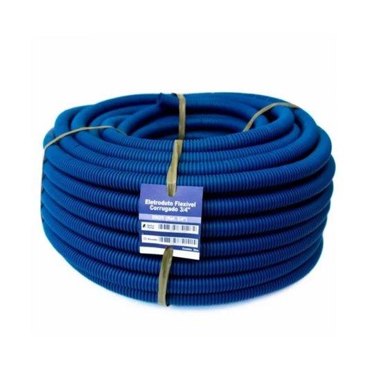 """Eletroduto Corrugado (Conduite) Azul 3/4"""" - 50m Extra Forte - Volpato"""