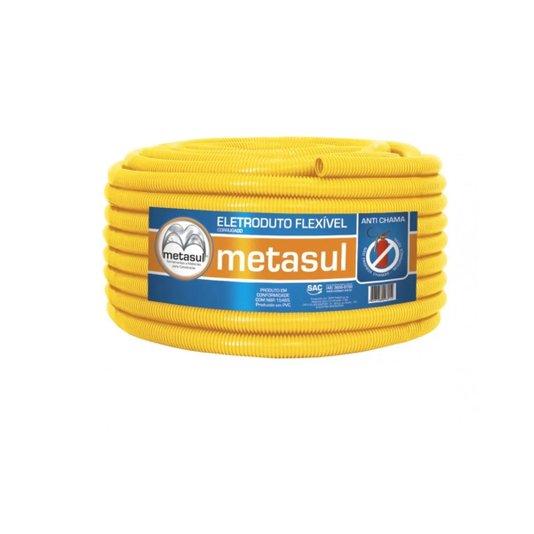 "Eletroduto Corrugado PVC Anti-Chama NBR-15465 Amarelo 50m 3/4"" - Metasul"