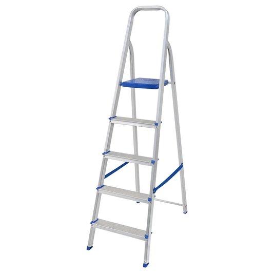 Escada Alumínio 5 Degraus com Fita Segurança - Mor
