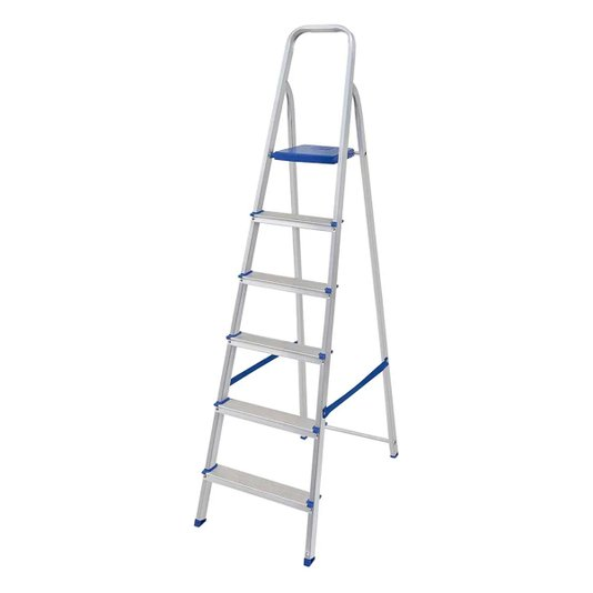 Escada Alumínio 6 Degraus com Fita Segurança - Mor