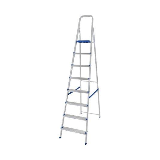 Escada Alumínio 8 Degraus com Fita de Segurança - Mor