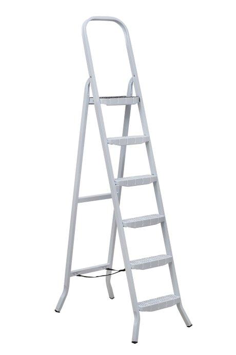 Escada Aço 6 Degraus Premium Branca com Fita - Maestro