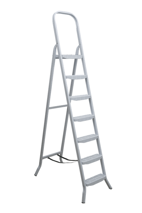 Escada Aço 7 Degraus Premium Branca com Fita - Maestro
