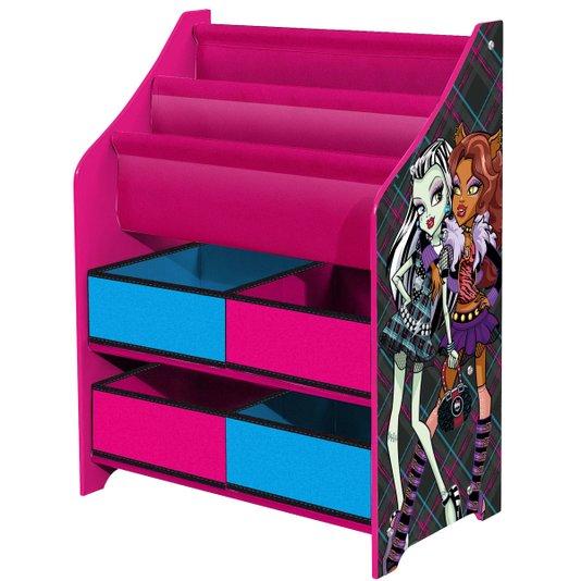 Estante Monster High com Revisteiro e Caixas Organizadoras de Tecido  - Mattel