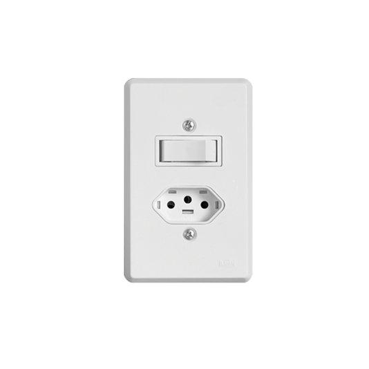Interruptor Elétrico 1 Tecla Simples e Tomada com Placa Branca - Ilumi