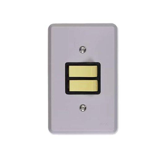 Interruptor Elétrico 2 Teclas Simples com Placa Cinza - Ilumi
