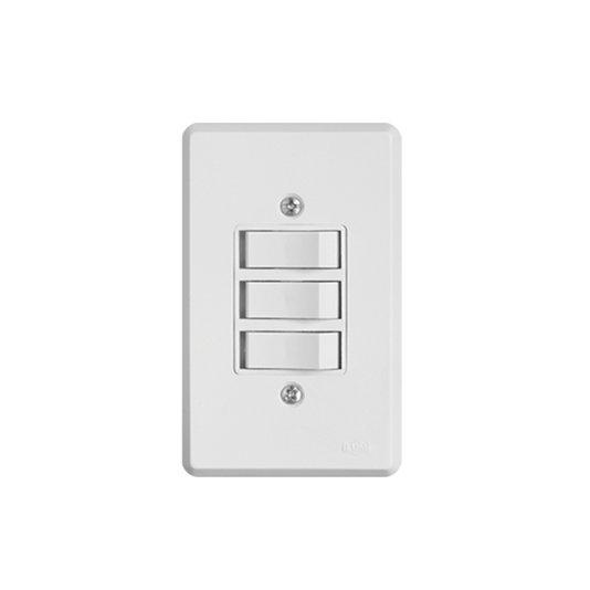 Interruptor Elétrico 3 Teclas Simples com Placa Branca - Ilumi