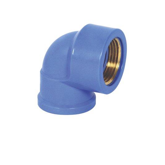 """Joelho Bucha Latão Água Azul Redução 25mmX1/2"""" - Krona"""