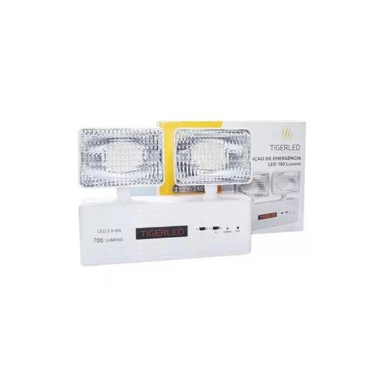 Luminária Emergência Bloco Autônomo LED CR7016 2X4W 700 Lúmens Bivolt - Tiger Led