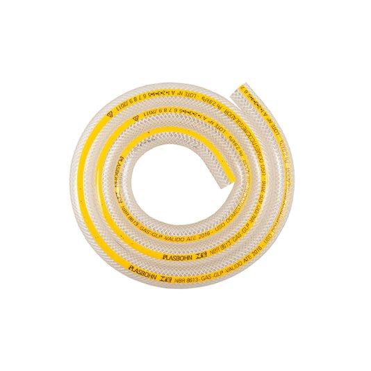 Mangueira Gás Plástica Normatizada com Tarja Amarela 1,20m - Plasbohn