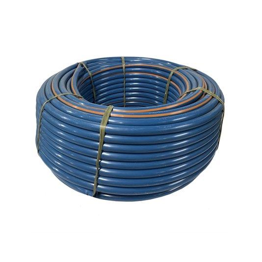 """Mangueira Plástica Azul Marcação Laranja 1/2"""" x 1,5mm parede Rolo 100 metros - Bruning"""