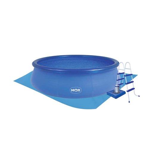 Piscina Plástica Redonda Azul 9000 litros Combo Completo 220v - Mor