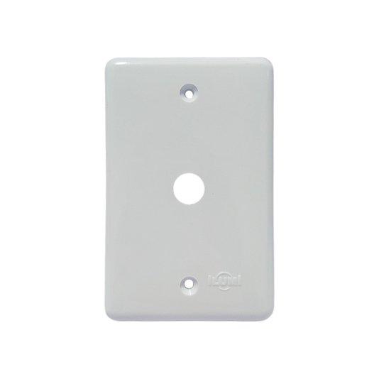 Placa com Furo Central para Cabo com Conector para Antena Branca - Ilumi
