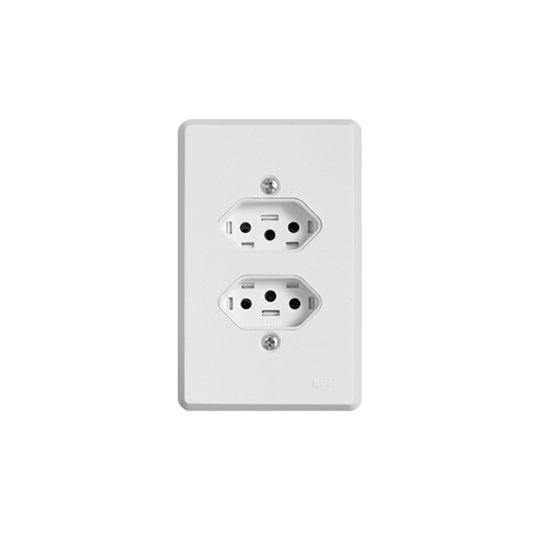 Tomada Elétrica Distanciada Dupla com Placa Branca - Ilumi