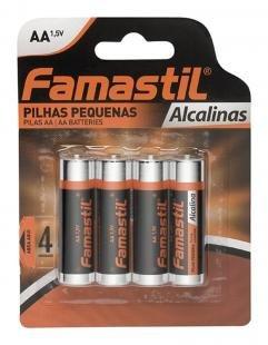 Pilha Alkalina AA Pequena Encartelada com 4 Unidades - Famastil