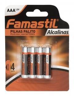 Pilha Alkalina AAA Palito Encartelada com 4 Unidades - Famastil