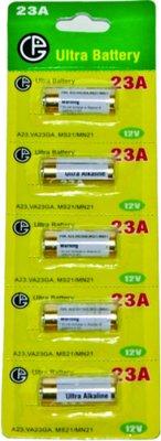 Pilha Alkalina 12V para Controle Remoto 23A Redonda com 5 Unidades - Ultra Battery