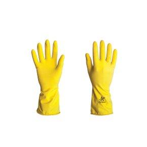 Luva Látex Amarela Forrada Anti-Derrapante - Kalipso